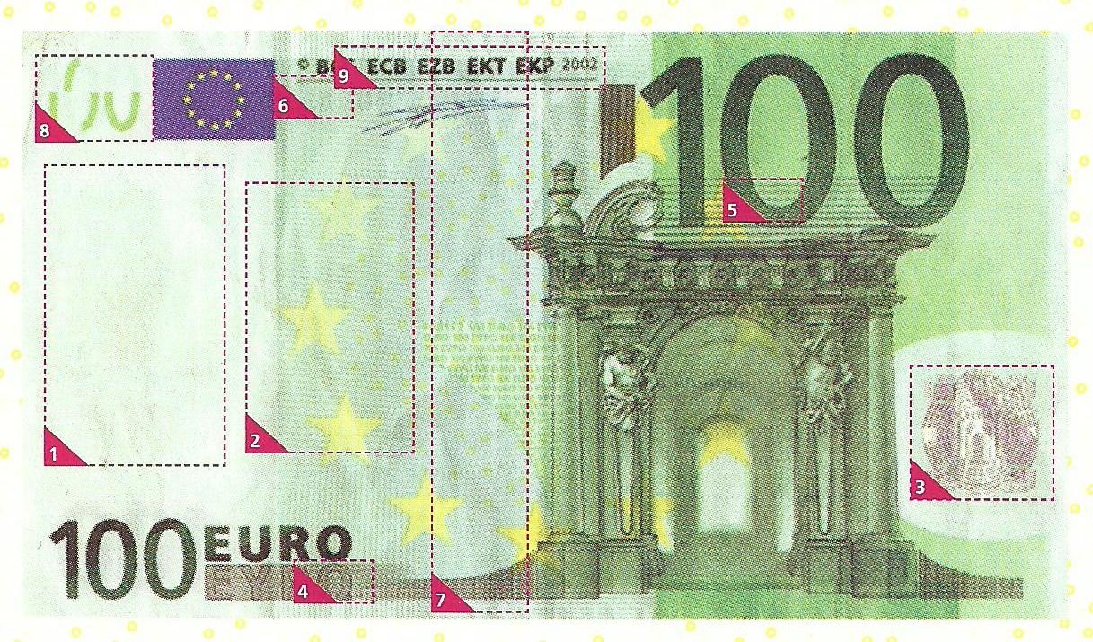 Виды фальсификации купюр. Выпуск №4 (номинал 100 евро)