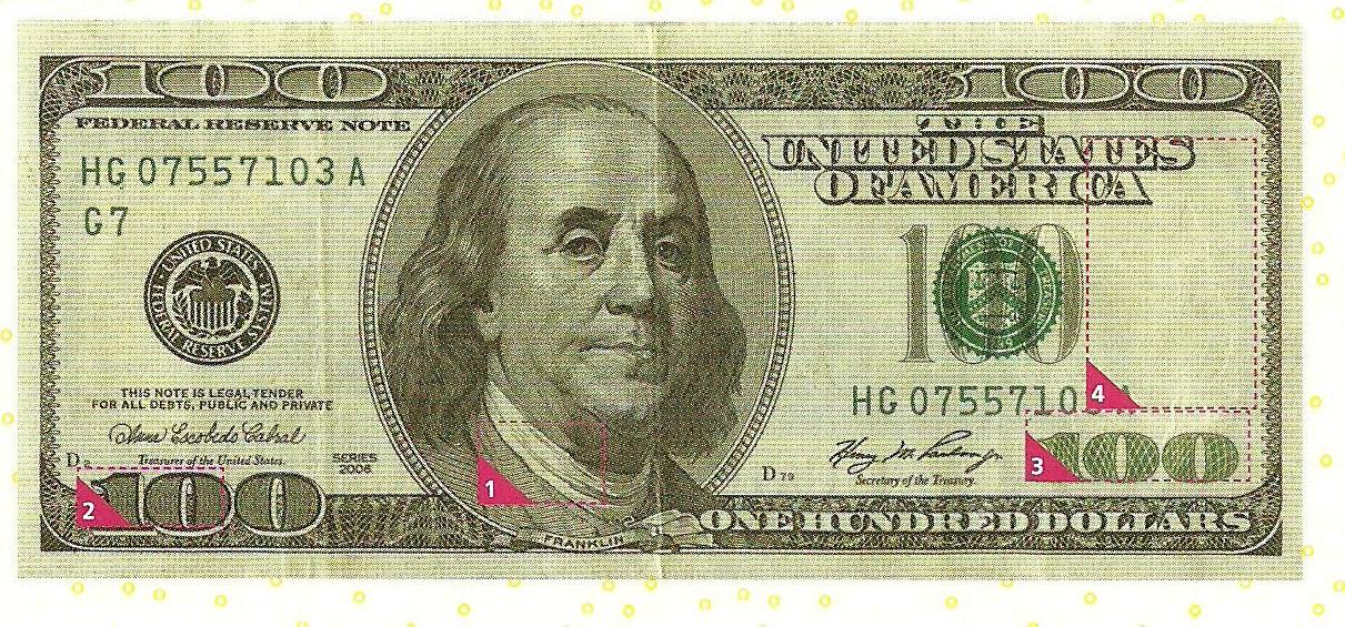 Виды фальсификации купюр. Выпуск №8 (номинал 100 долларов)